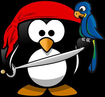 海賊の格好をしたペンギン